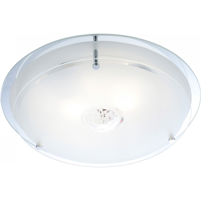 Светильник настенно-потолочный GloboСветильники настенно-потолочные<br>Мощность: 60,<br>Количество ламп: 2,<br>Назначение светильника: для комнаты,<br>Стиль светильника: модерн,<br>Материал светильника: металл, стекло,<br>Тип лампы: накаливания,<br>Высота: 110,<br>Диаметр: 330,<br>Патрон: Е27,<br>Цвет арматуры: хром,<br>Коллекция: malaga<br>