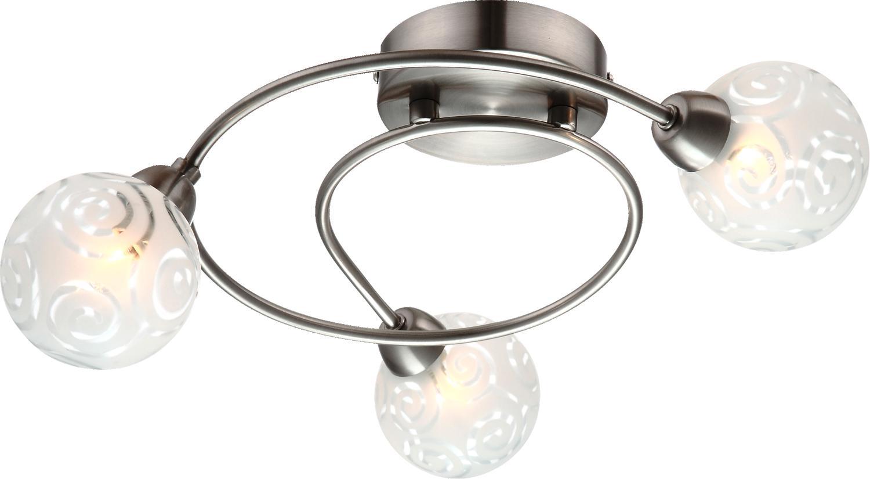 Спот GloboСпоты<br>Тип: спот,<br>Стиль светильника: модерн,<br>Материал светильника: металл, стекло,<br>Количество ламп: 3,<br>Тип лампы: галогенные и светодиодные,<br>Мощность: 28,<br>Патрон: G9,<br>Цвет арматуры: никель,<br>Длина (мм): 330,<br>Высота: 140<br>