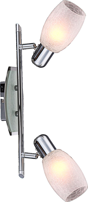 Спот GloboСпоты<br>Тип: спот,<br>Стиль светильника: хай-тек,<br>Материал светильника: металл, стекло,<br>Количество ламп: 2,<br>Тип лампы: энергосберегающая,<br>Мощность: 11,<br>Патрон: Е14,<br>Цвет арматуры: хром,<br>Ширина: 350,<br>Высота: 150<br>