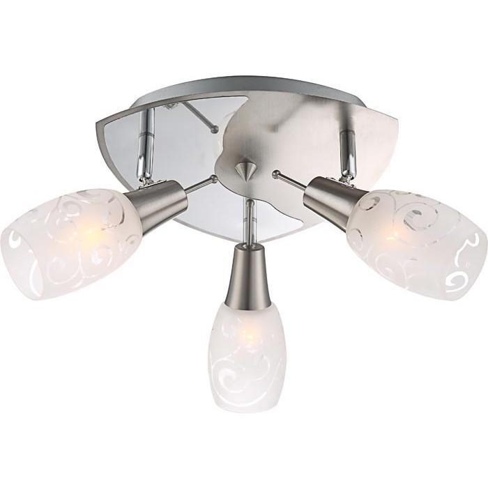 Спот GloboСпоты<br>Тип: спот,<br>Стиль светильника: хай-тек,<br>Материал светильника: металл, стекло,<br>Количество ламп: 3,<br>Тип лампы: энергосберегающая,<br>Мощность: 13,<br>Патрон: Е14,<br>Цвет арматуры: никель,<br>Ширина: 270,<br>Длина (мм): 270,<br>Высота: 170<br>