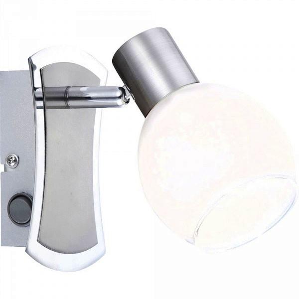 Спот GloboСпоты<br>Тип: спот,<br>Стиль светильника: современный,<br>Материал светильника: металл, стекло,<br>Количество ламп: 1,<br>Тип лампы: светодиодная,<br>Мощность: 4,<br>Патрон: LED,<br>Цвет арматуры: никель,<br>Ширина: 95,<br>Высота: 130,<br>Удаление от стены: 160<br>