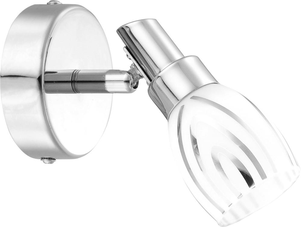 Спот GloboСпоты<br>Тип: спот,<br>Стиль светильника: модерн,<br>Материал светильника: металл, стекло,<br>Количество ламп: 1,<br>Тип лампы: галогенная,<br>Мощность: 33,<br>Патрон: G9,<br>Цвет арматуры: хром,<br>Диаметр: 140,<br>Высота: 120,<br>Удаление от стены: 140<br>