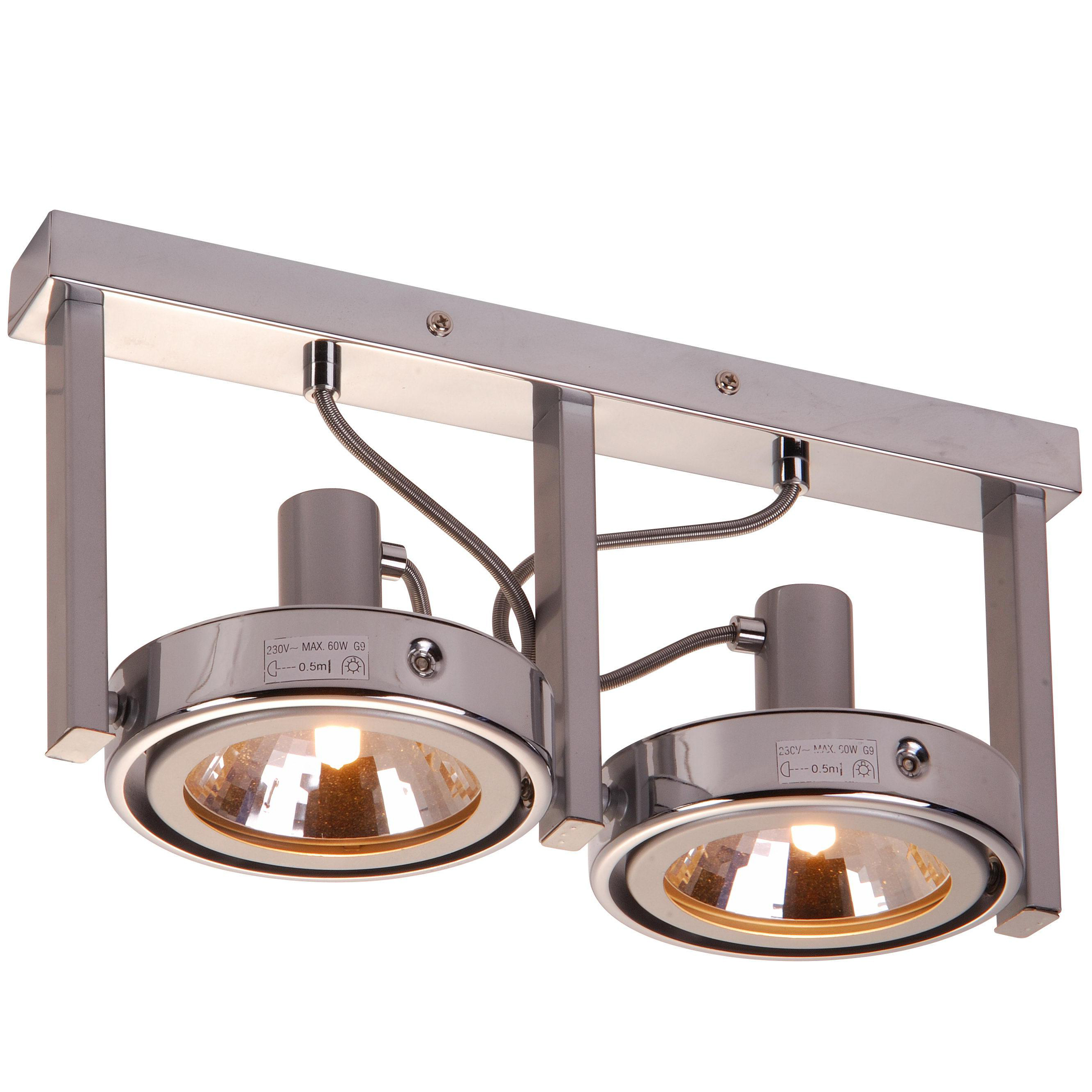 Спот GloboСпоты<br>Тип: спот,<br>Стиль светильника: модерн,<br>Материал светильника: металл,<br>Количество ламп: 2,<br>Тип лампы: галогенная,<br>Мощность: 52,<br>Патрон: G9,<br>Цвет арматуры: серебристый,<br>Диаметр: 135,<br>Длина (мм): 360,<br>Высота: 170,<br>Коллекция: kuriana<br>