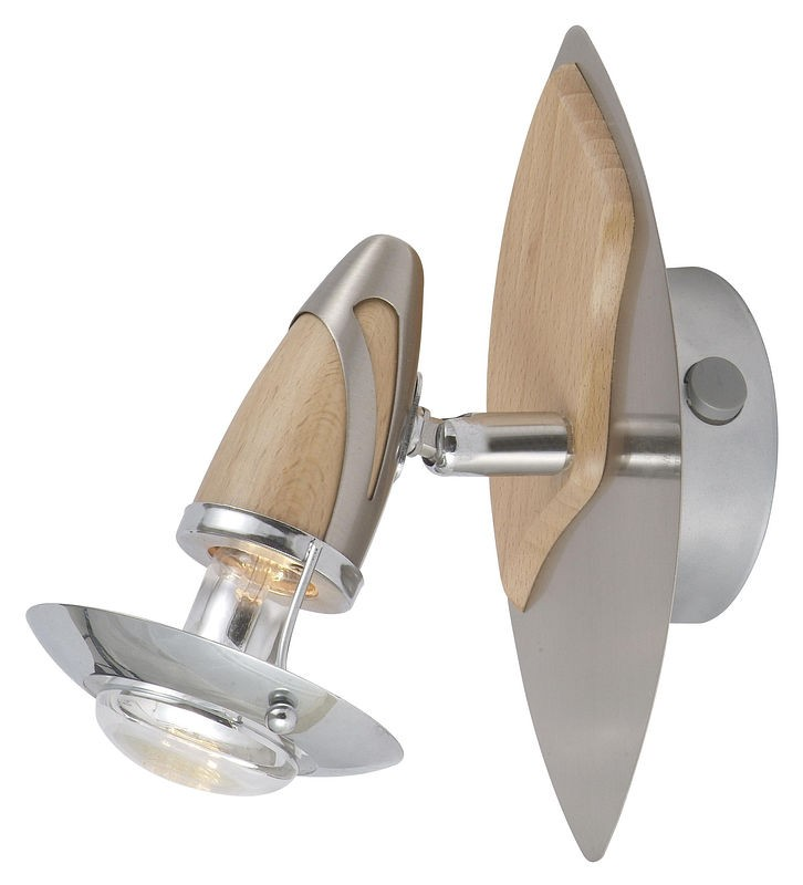Спот GloboСпоты<br>Тип: спот,<br>Стиль светильника: модерн,<br>Материал светильника: дерево, металл,<br>Количество ламп: 1,<br>Тип лампы: накаливания,<br>Мощность: 40,<br>Патрон: Е14,<br>Цвет арматуры: дерево,<br>Длина (мм): 200,<br>Удаление от стены: 170,<br>Коллекция: lord<br>