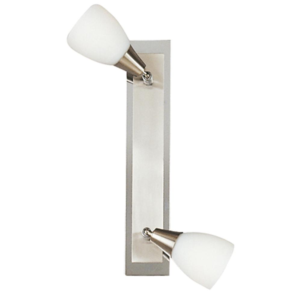 Спот GloboСпоты<br>Тип: спот,<br>Стиль светильника: модерн,<br>Материал светильника: металл, стекло,<br>Количество ламп: 2,<br>Тип лампы: накаливания,<br>Мощность: 40,<br>Патрон: Е14,<br>Цвет арматуры: никель,<br>Ширина: 70,<br>Длина (мм): 350,<br>Удаление от стены: 180<br>