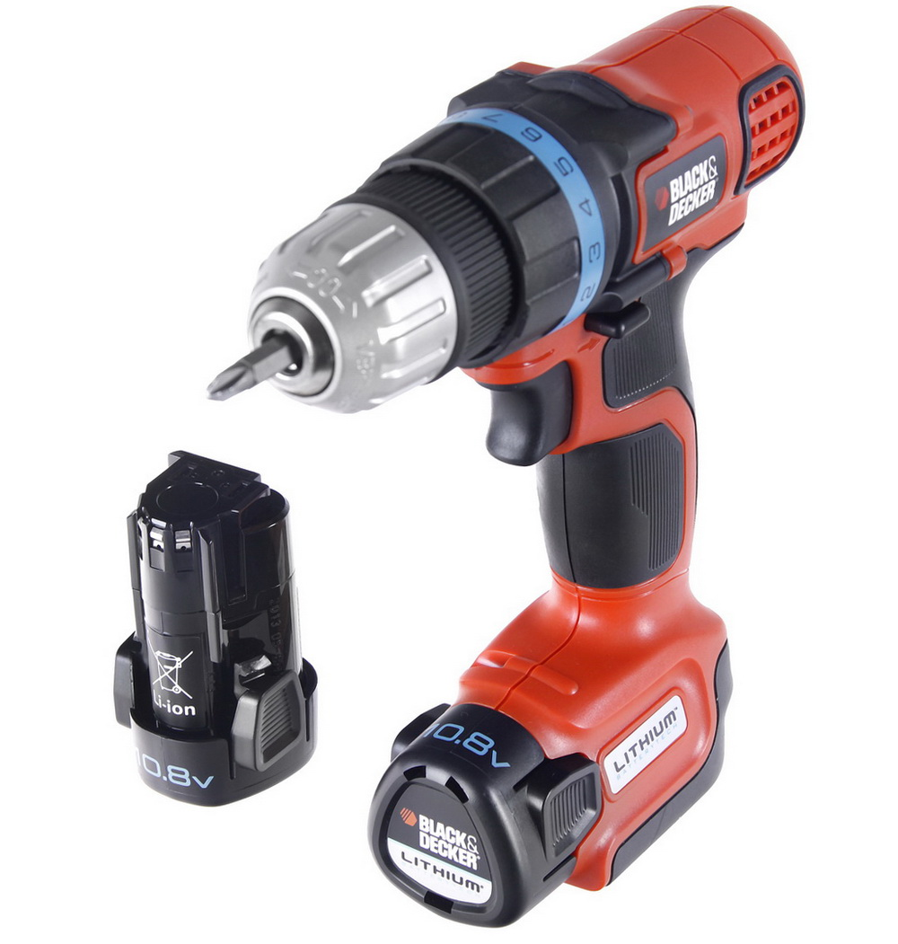 Аккумуляторная дрель-шуруповерт Black &amp; deckerАккумуляторные дрели, шуруповерты<br>Аккумулятор: 10.8,<br>Макс. крутящий момент: 24,<br>Емкость аккумулятора: 1.3,<br>Тип аккумулятора: LiION,<br>Аккумуляторов в комплекте: два,<br>Обороты: 0-600,<br>Макс. обороты: 600,<br>Тип: дрель-шуруповерт,<br>Наличие удара: нет,<br>Быстрозажимной патрон: есть,<br>Диаметр патрона: 10,<br>Тип патрона: БЗП,<br>Макс. диаметр сверления (металл): 10,<br>Макс. диаметр сверления (дерево): 25,<br>Две и более механических скоростей: нет,<br>Электронная регулировка числа оборотов: есть,<br>Поддержание постоянного количества оборотов: нет,<br>Предохранительная муфта: нет,<br>Система для защиты от вибрации: нет,<br>Время заряда: 1,<br>Подсветка рабочей зоны: нет,<br>Встроенная система пылеудаления: нет,<br>Тормоз двигателя: есть,<br>Реверс: есть,<br>Вес нетто: 2.5,<br>Поставляется в: коробке<br>