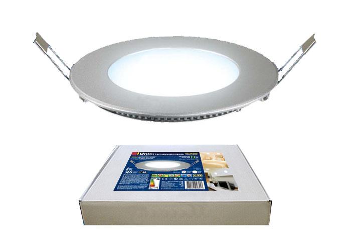 Светильник UnielСветильники офисные, промышленные<br>Назначение светильника: офисный,<br>Тип лампы: светодиодная,<br>Мощность: 6,<br>Патрон: LED,<br>Степень защиты от пыли и влаги: IP 40,<br>Цвет: серебряный<br>