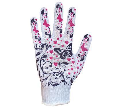 Перчатки ПВХ DOLONI 871  с цветным ПВХ рисунком(черные),(белые)