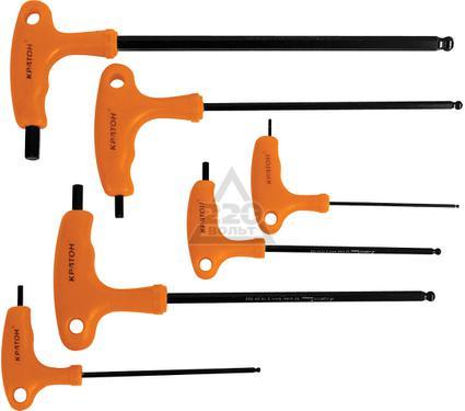 Набор шестигранных ключей угловых с T-образной ручкой с шаром, 6 шт. КРАТОН INDUSTRIAL