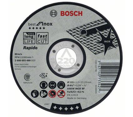 Круг отрезной BOSCH Best for Inox 115 Х 1,0 Х 22 по нержавейке, выпуклый