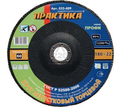 Круг Лепестковый Торцевой (КЛТ) ПРАКТИКА 032-409 180х22мм, Р60