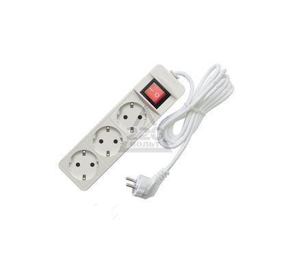 Удлинитель СОЮЗ 3500 Вт с заземлением, с выключателем 3гнезда ПВС 1,5м