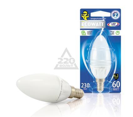 Лампа светодиодная ECOWATT B35 230В 6.2(60)W 4000K E14