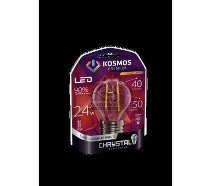 """Лампа светодиодная КОСМОС premium LED 2.4Вт Шар 45 """"Золотая Нить"""" E14 230В 3000K"""