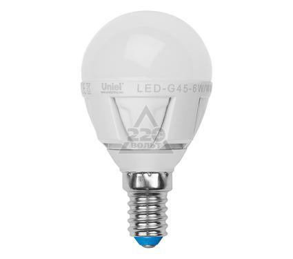 Лампа светодиодная UNIEL LED-G45-6W/NW/E14/FR ALP01WH