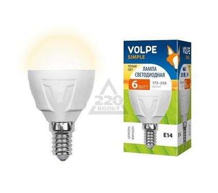 Лампа светодиодная VOLPE LED-G45-6W/WW/E14/FR/S