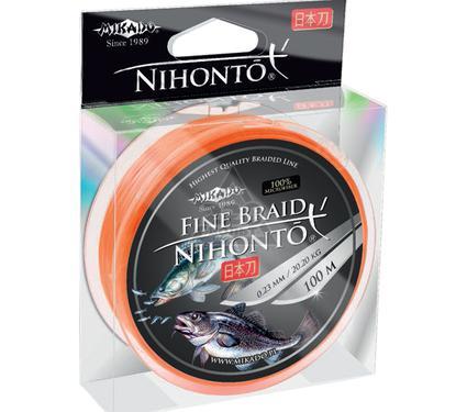 Шнур MIKADO NIHONTO FINE BRAID 0.18 orange 100м
