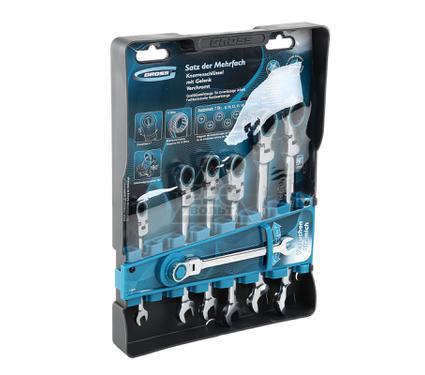Набор гаечных комбинированных ключей с трещоткой, 7 шт. GROSS 14891