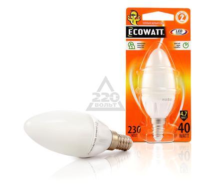 Лампа светодиодная ECOWATT B35 230В 4.7(40)W 2700K E14