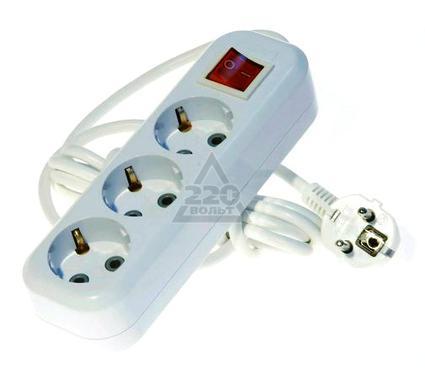 Удлинитель LUX У3-ЕВК-03  с выключателем 3-местный с заземлением, 220В 16А, 3м