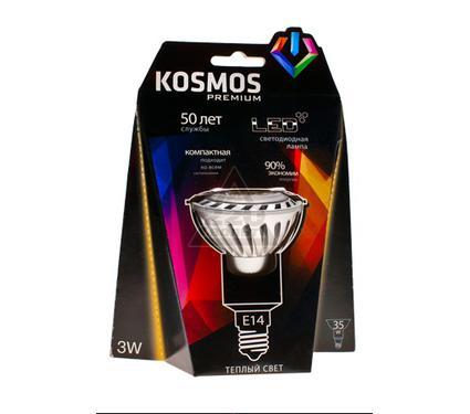 Лампа светодиодная КОСМОС LED 3Вт JDR E14 230v  3000K