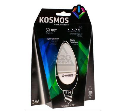 Лампа светодиодная КОСМОС LED 3Вт свеча E14 230v 4500K