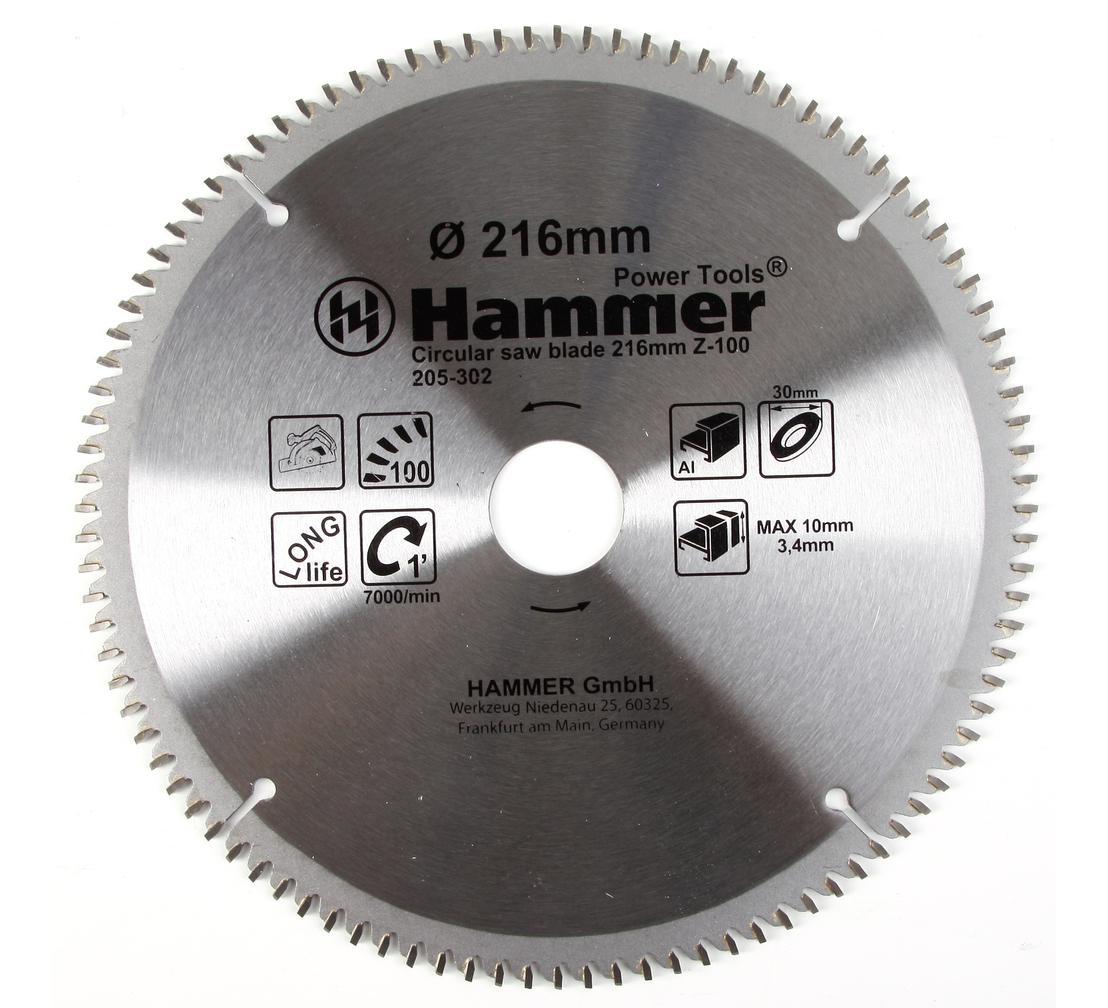 Круг пильный твердосплавный HAMMER CSB AL 216мм*100*30мм