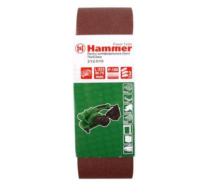 Лента шлифовальная бесконечная HAMMER 75 Х 533 Р 100  3 шт.