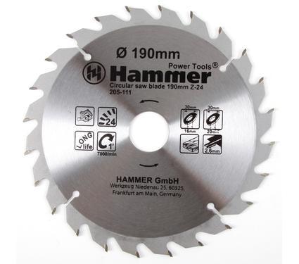 Круг пильный твердосплавный HAMMER CSB WD 190мм*24*30/20/16мм