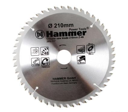Круг пильный твердосплавный HAMMER CSB WD 210мм*48*30/20мм