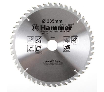 Круг пильный твердосплавный HAMMER CSB WD 235мм*48*30/20мм