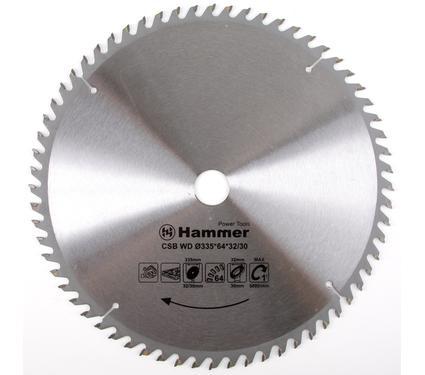 Круг пильный твердосплавный HAMMER CSB WD 335мм*64*32/30мм