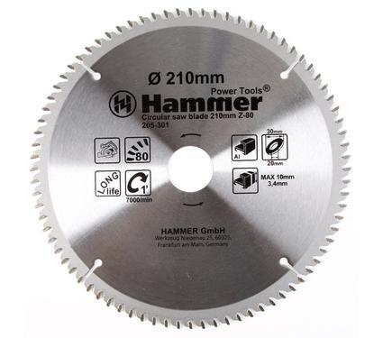 Круг пильный твердосплавный HAMMER CSB AL 210мм*80*30/20мм