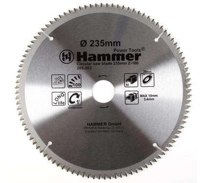 Круг пильный твердосплавный HAMMER CSB AL 235мм*100*30мм