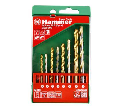 Набор сверл HAMMER DR MT-CR set No2 (8pcs) 4-8mm