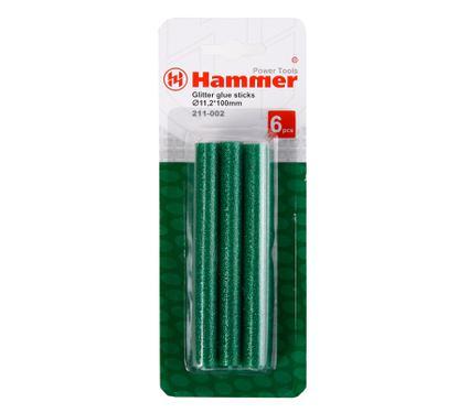 Стержни для клей-пистолетов HAMMER Cтержни зел. металлик 11.2мм, 100 мм, 6 шт.