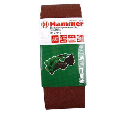 Лента шлифовальная бесконечная HAMMER 100 Х 610 Р 40  3 шт.