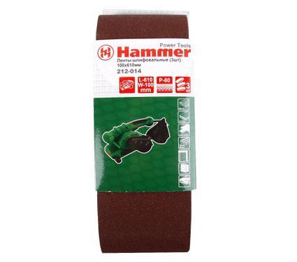 Лента шлифовальная бесконечная HAMMER 100 Х 610 Р 60  3 шт.
