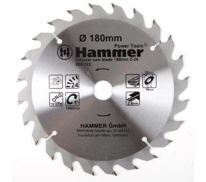Диск пильный твердосплавный HAMMER CSB WD 180мм*24*20/16мм