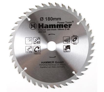 Круг пильный твердосплавный HAMMER CSB WD 180мм*40*20/16мм