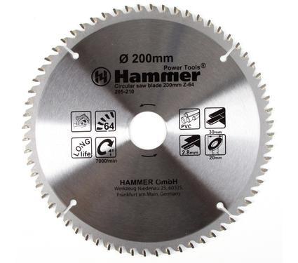 Круг пильный твердосплавный HAMMER CSB PL 200мм*64*30/20мм