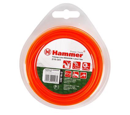 Леска для триммеров HAMMER TL HEXAGON 1.3mm X 15m