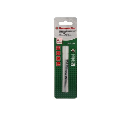 Сверло по дереву HAMMER 202-256 DR WD DBL FLUTE 4,0мм*75/43мм